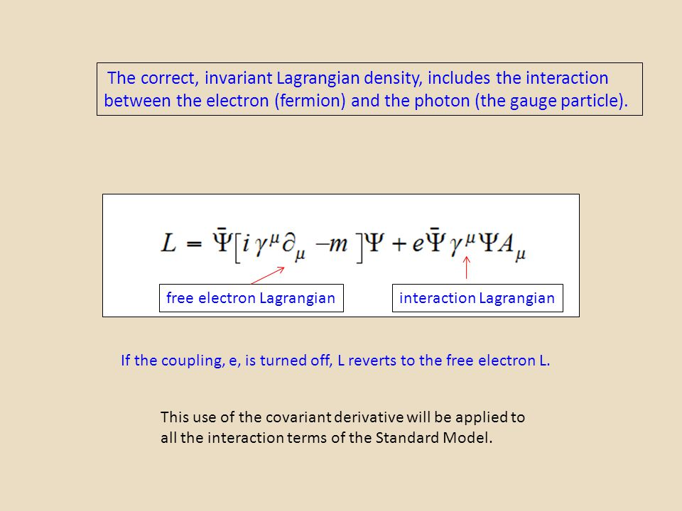 The correct, invariant Lagrangian density, includes the interaction between the electron (fermion) and the photon (the gauge particle).