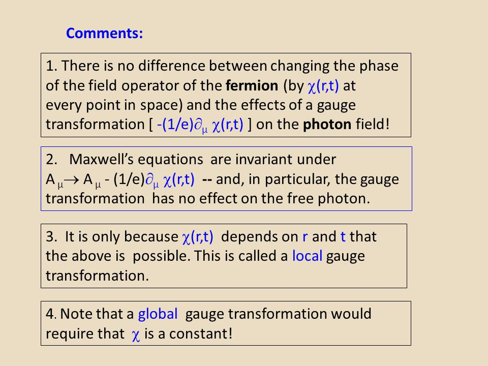 Comments: 1. There is no difference between changing the phase. of the field operator of the fermion (by (r,t) at.