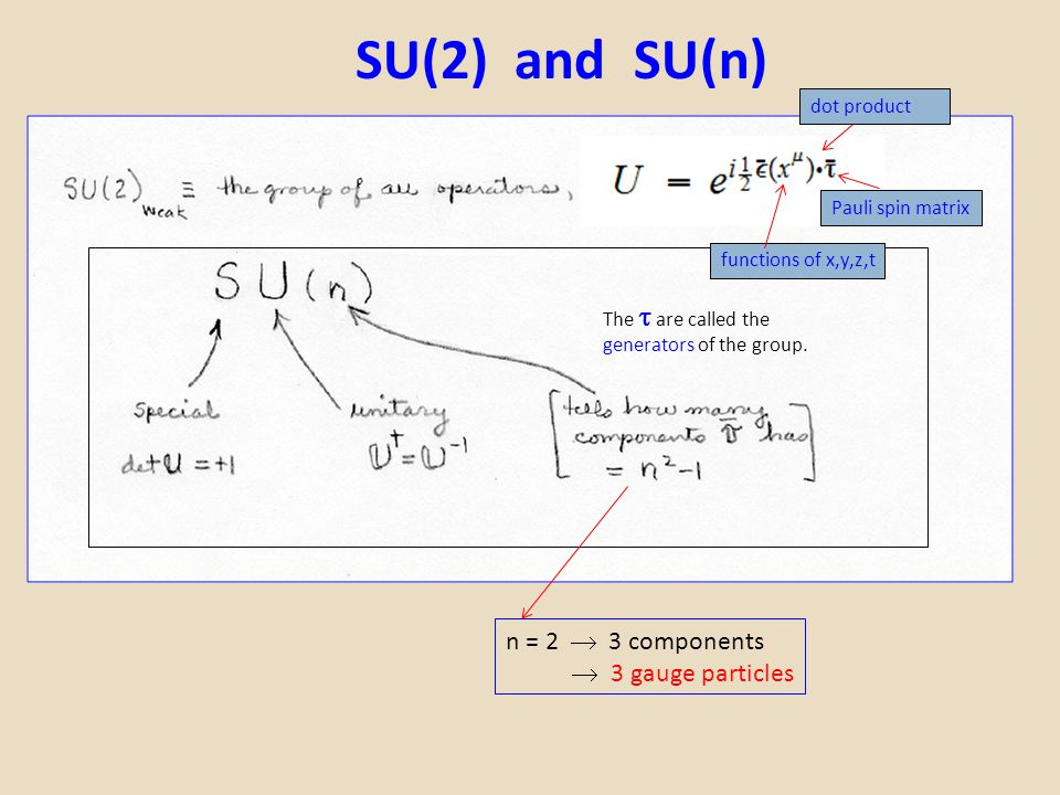 SU(2) and SU(n) n = 2  3 components  3 gauge particles dot product