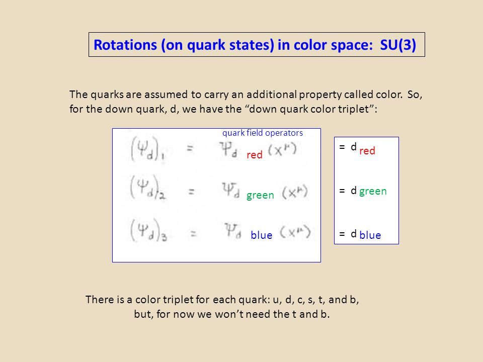 Rotations (on quark states) in color space: SU(3)