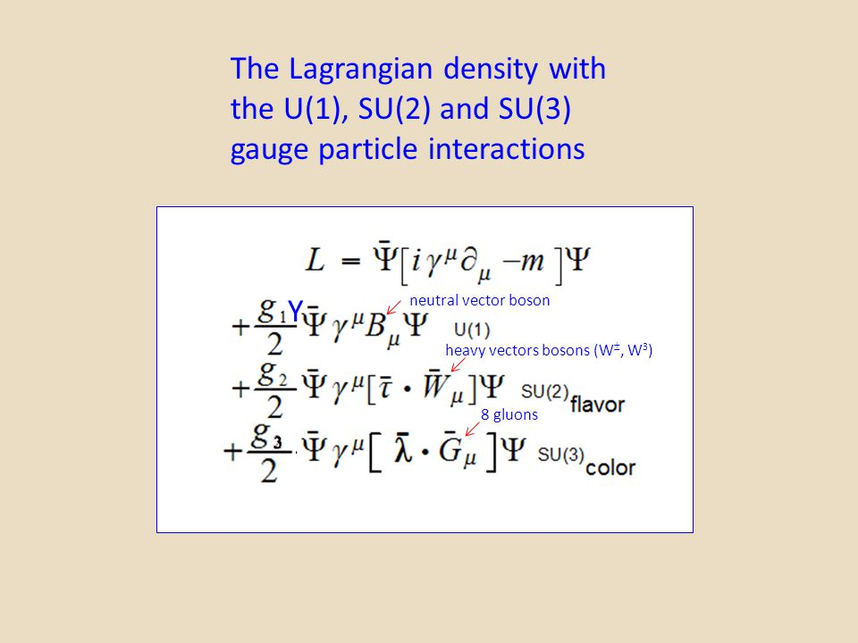 The Lagrangian density with the U(1), SU(2) and SU(3)
