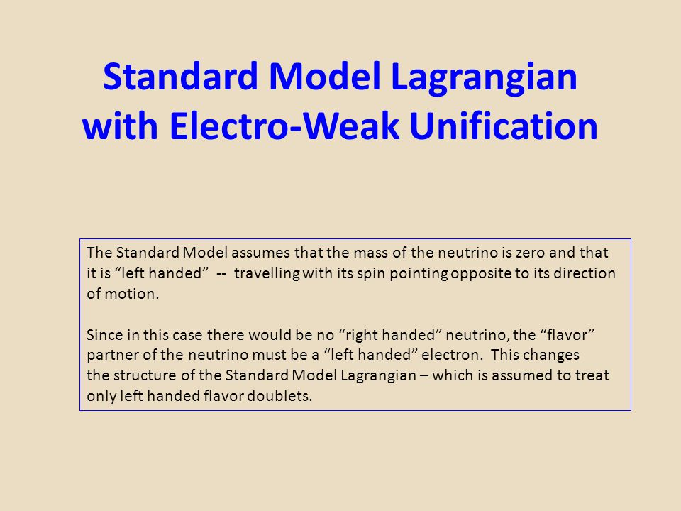 Standard Model Lagrangian with Electro-Weak Unification
