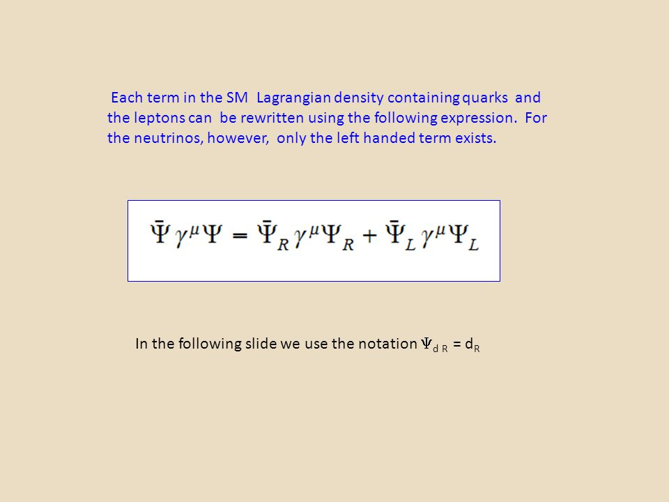 Each term in the SM Lagrangian density containing quarks and the leptons can be rewritten using the following expression. For