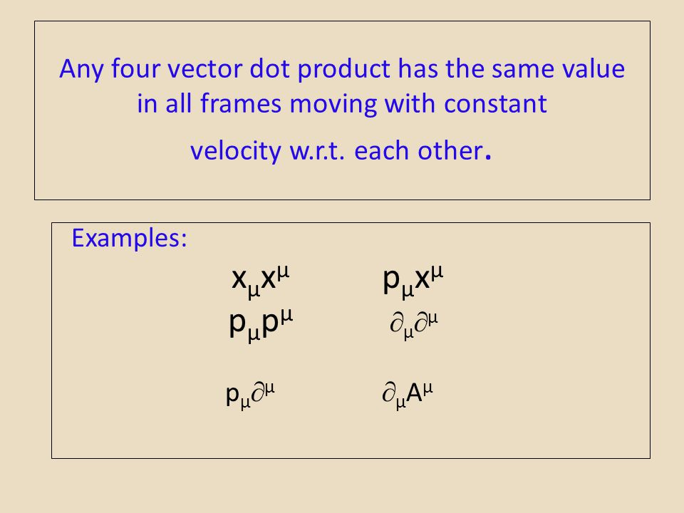Any four vector dot product has the same value in all frames moving with constant velocity w.r.t. each other.
