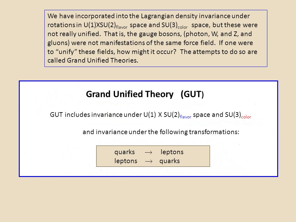 Grand Unified Theory (GUT)