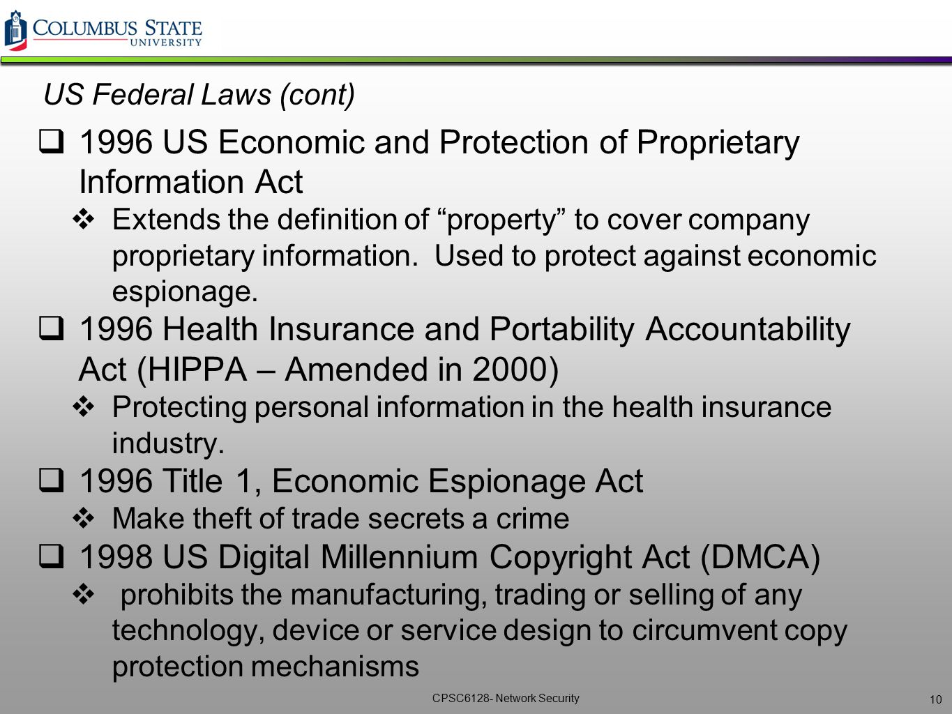 1996 US Economic and Protection of Proprietary Information Act