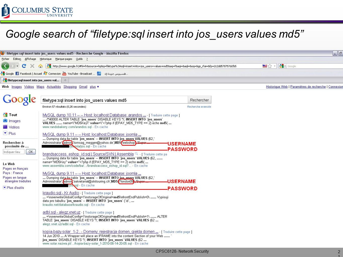 Google search of filetype:sql insert into jos_users values md5