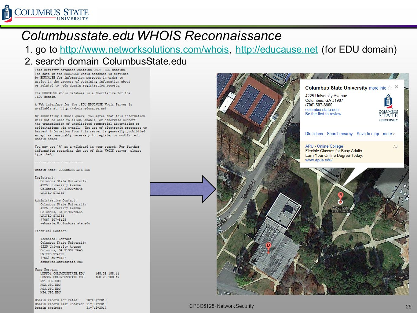 Columbusstate. edu WHOIS Reconnaissance 1. go to http://www