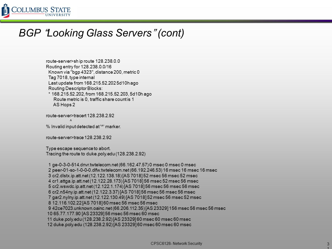 BGP Looking Glass Servers (cont)