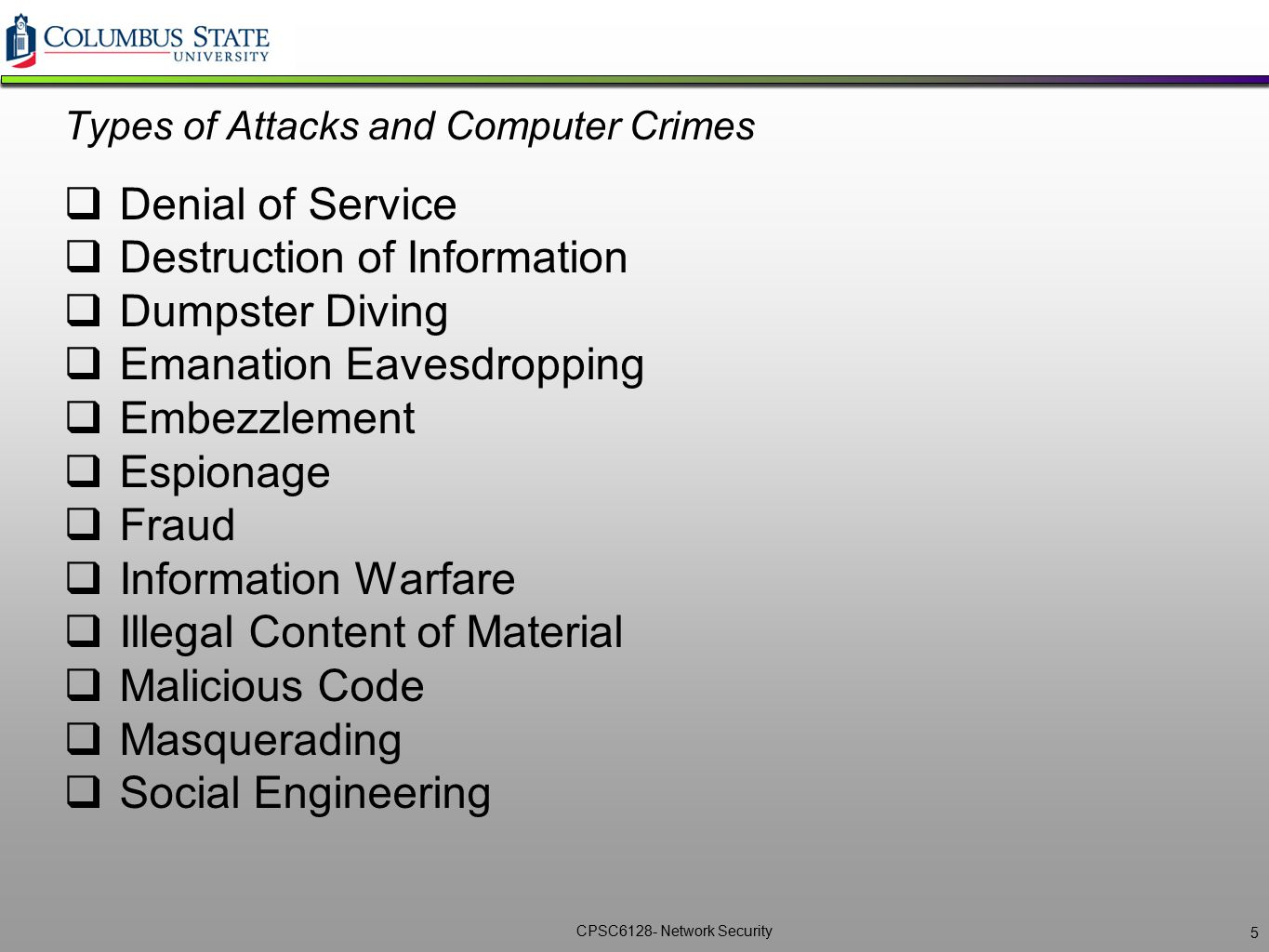 Types of Attacks and Computer Crimes