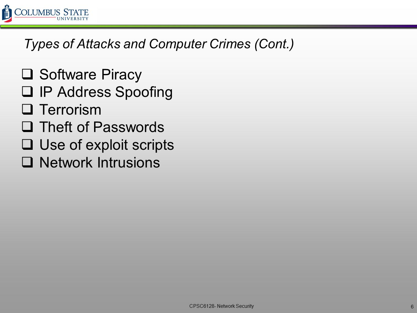 Types of Attacks and Computer Crimes (Cont.)