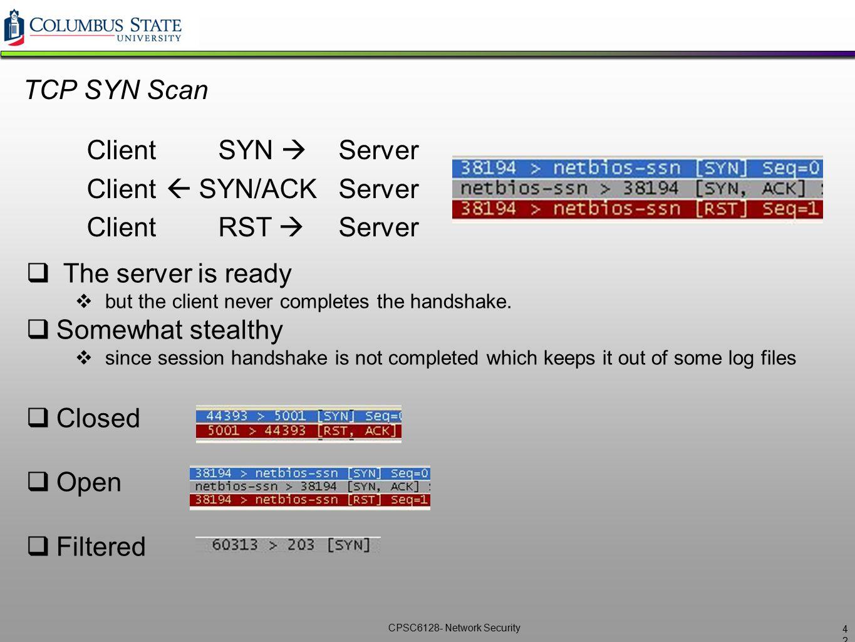 Client  SYN/ACK Server Client RST  Server