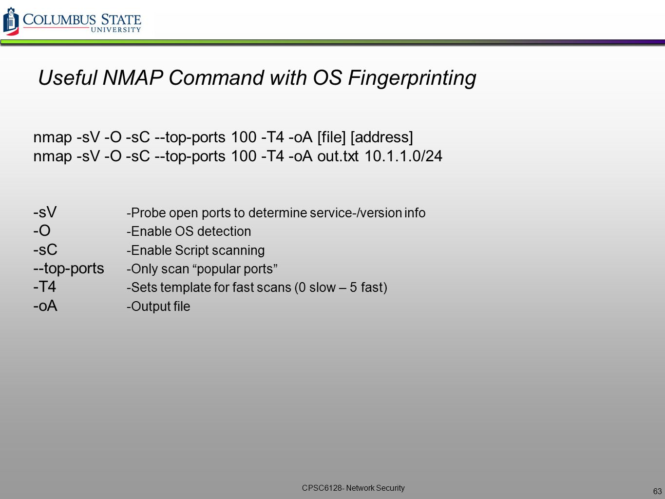 Useful NMAP Command with OS Fingerprinting
