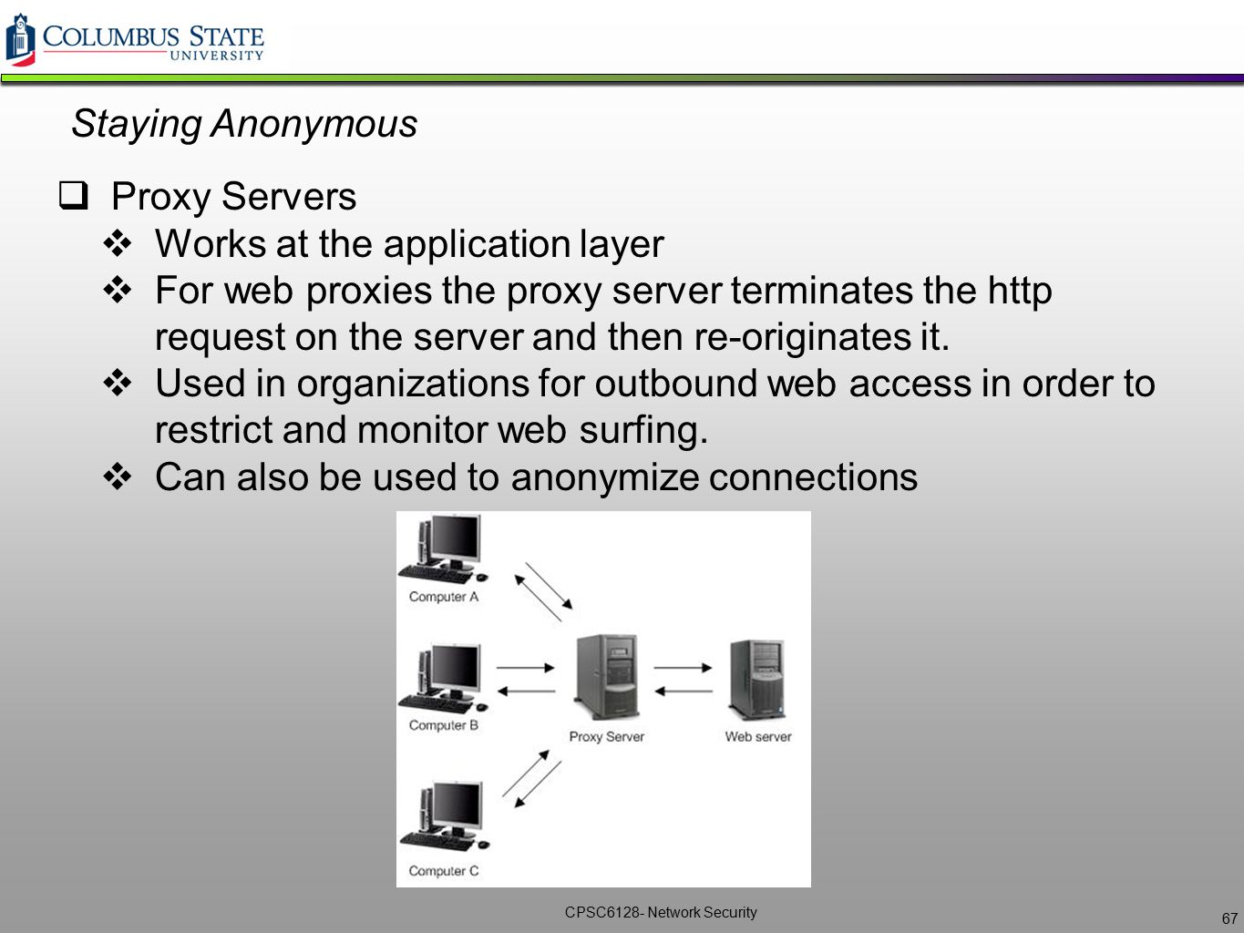 Staying Anonymous Proxy Servers. Works at the application layer.
