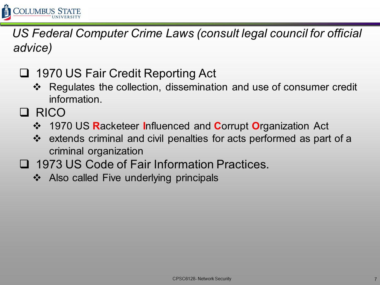 1970 US Fair Credit Reporting Act