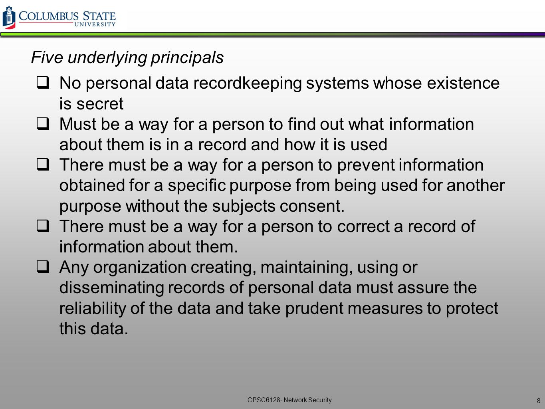 Five underlying principals