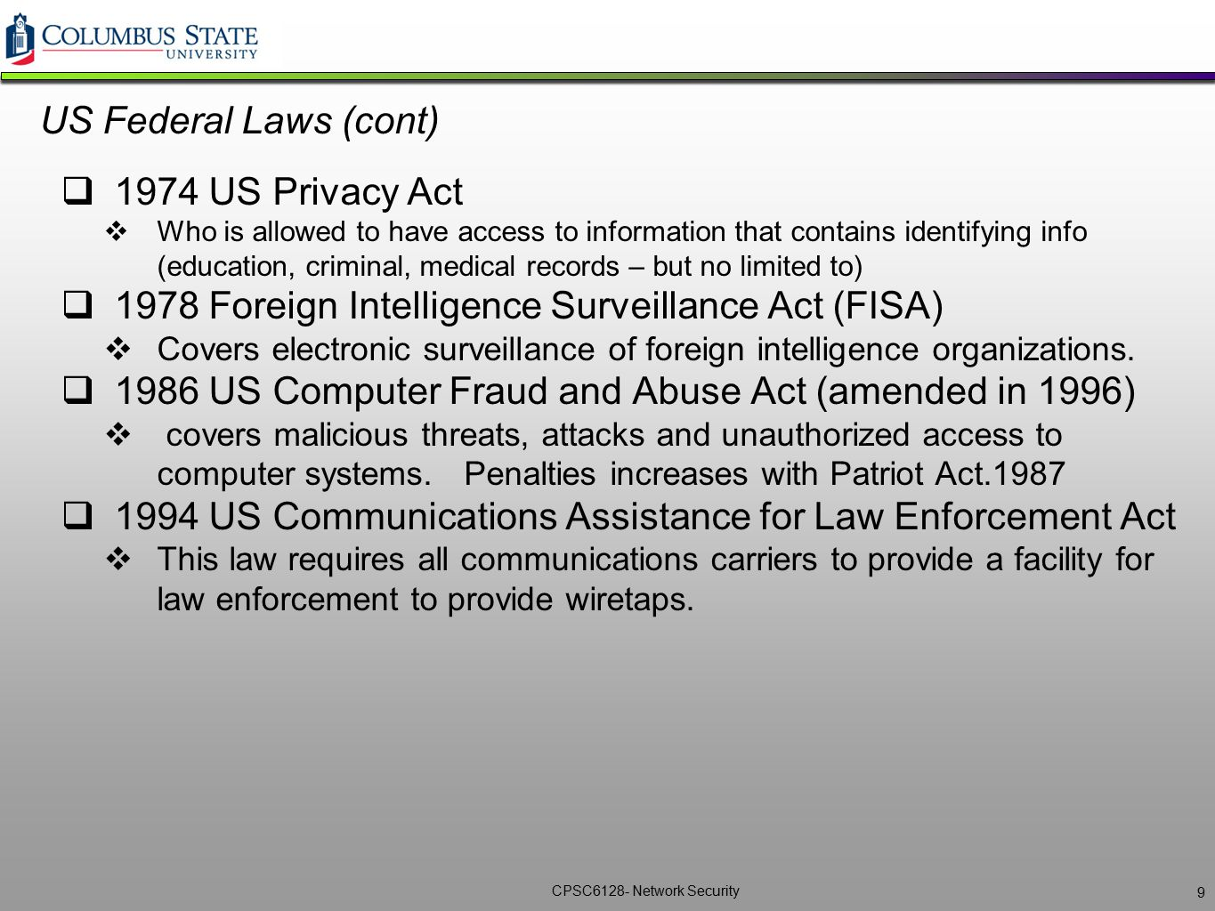 1978 Foreign Intelligence Surveillance Act (FISA)