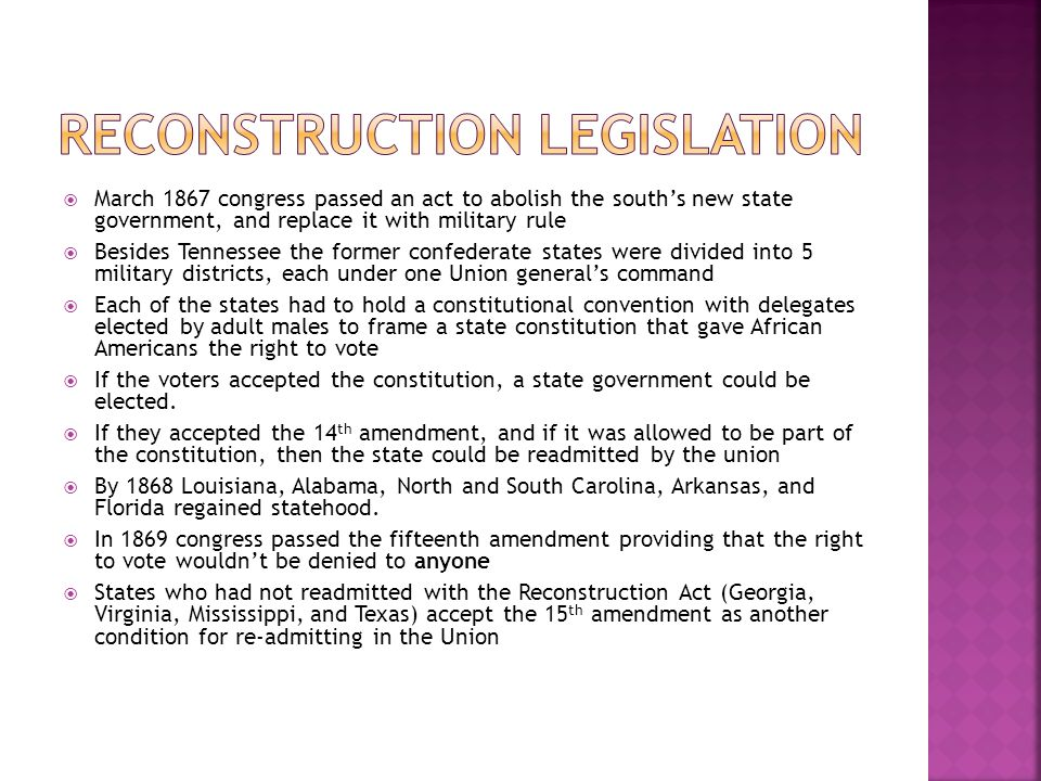Reconstruction Legislation