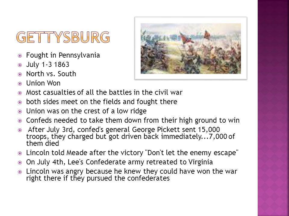 Gettysburg Fought in Pennsylvania July 1-3 1863 North vs. South