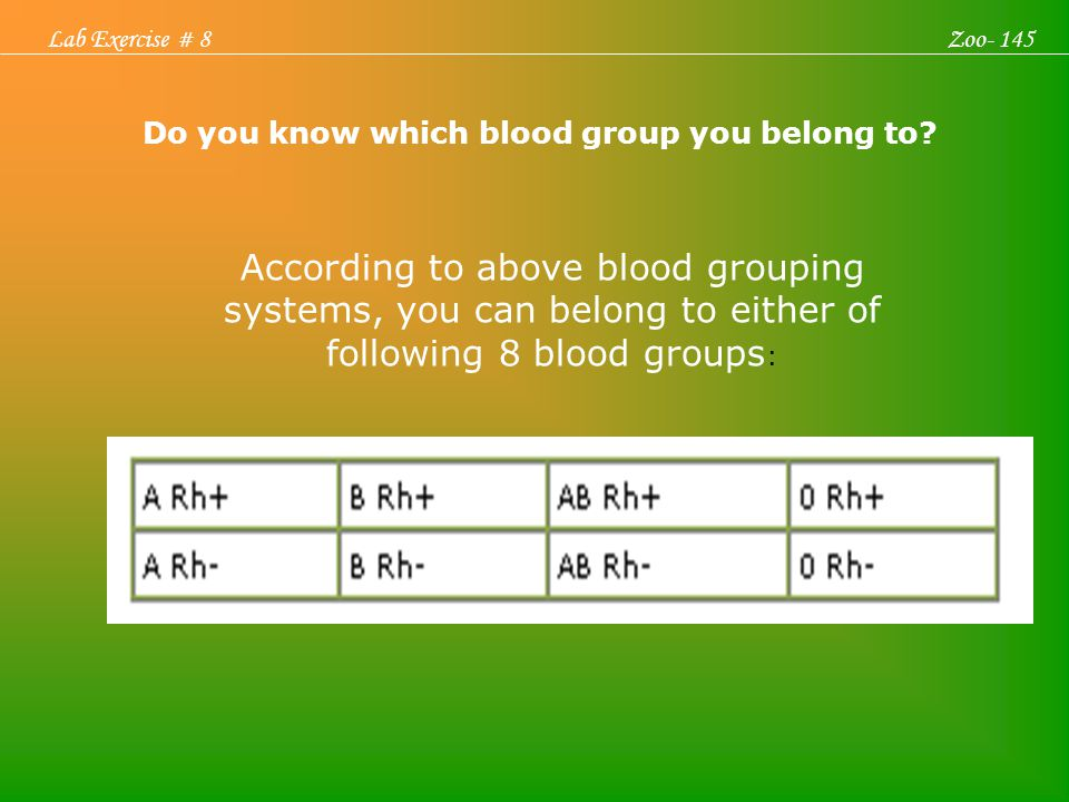 Lab Exercise # 8 Zoo- 145. According to above blood grouping systems, you can belong to either of following 8 blood groups: