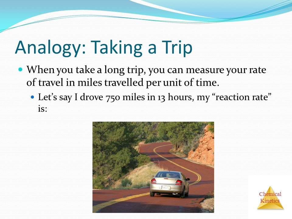 Analogy: Taking a Trip When you take a long trip, you can measure your rate of travel in miles travelled per unit of time.