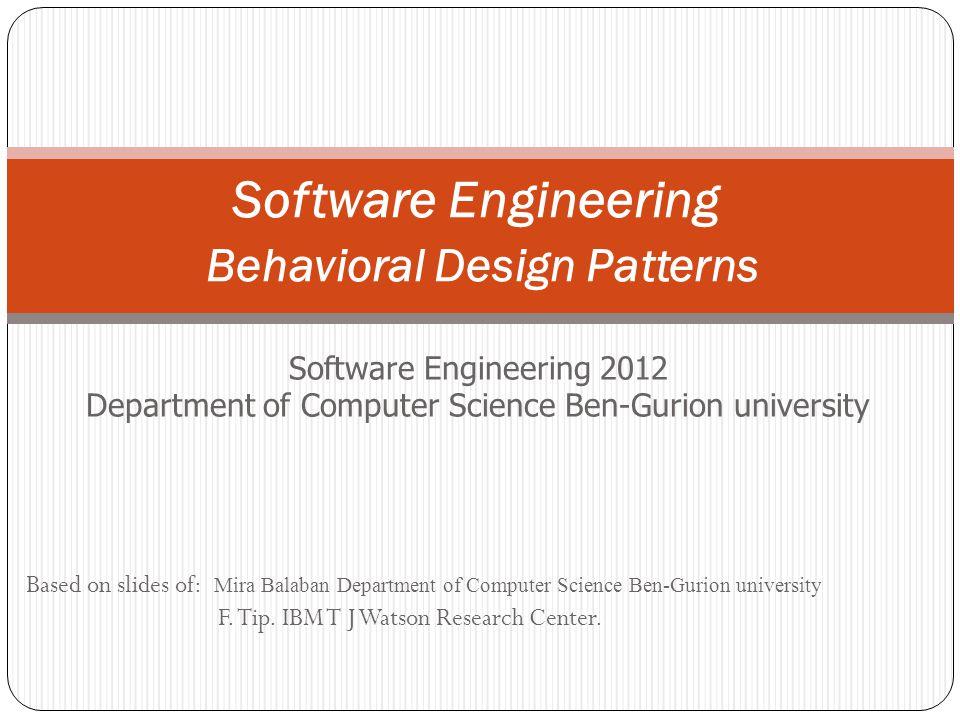 Software Engineering Behavioral Design Patterns