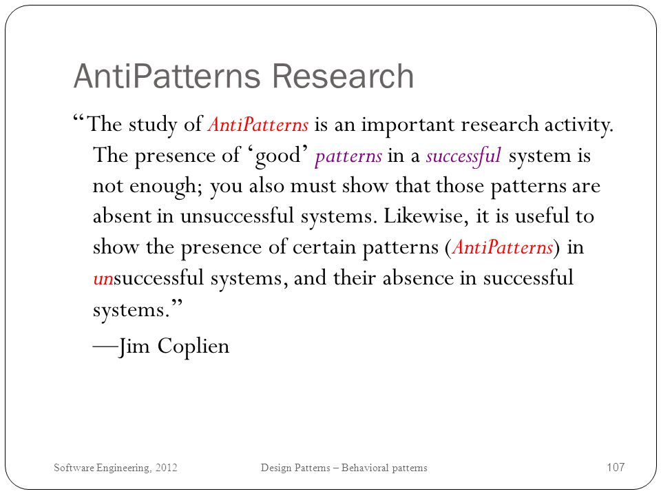 AntiPatterns Research