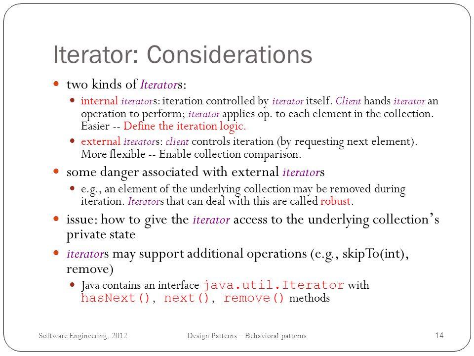 Iterator: Considerations