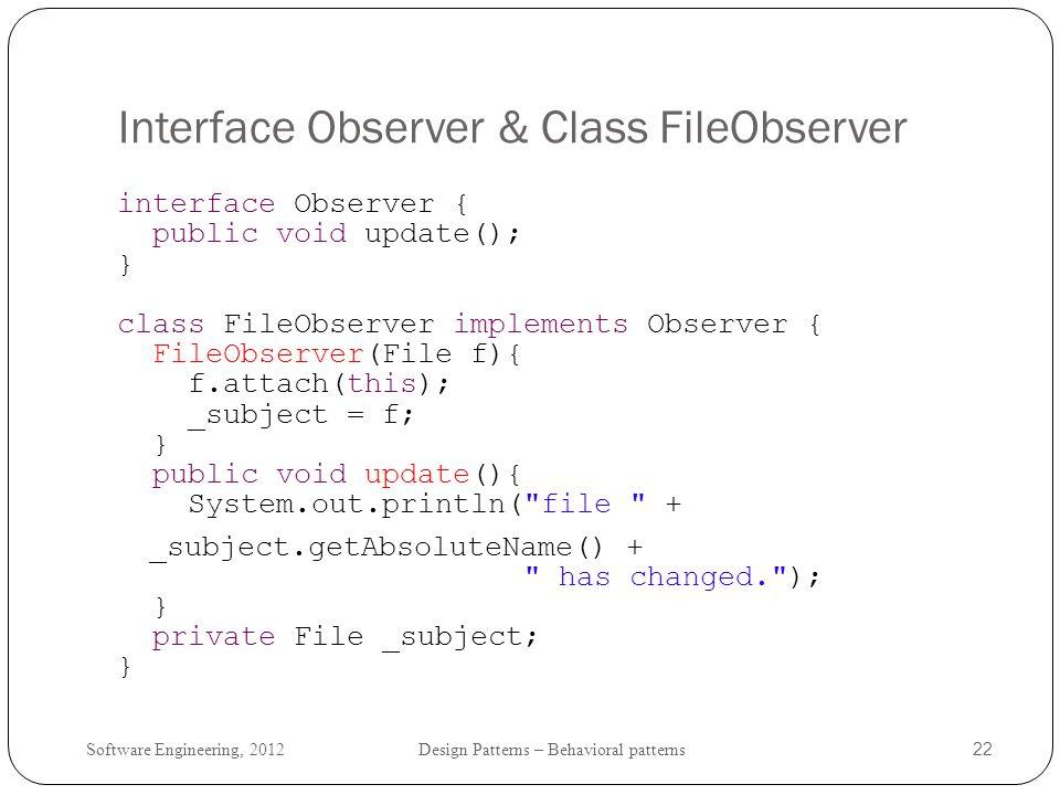 Interface Observer & Class FileObserver