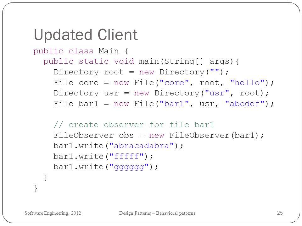 Updated Client public class Main {