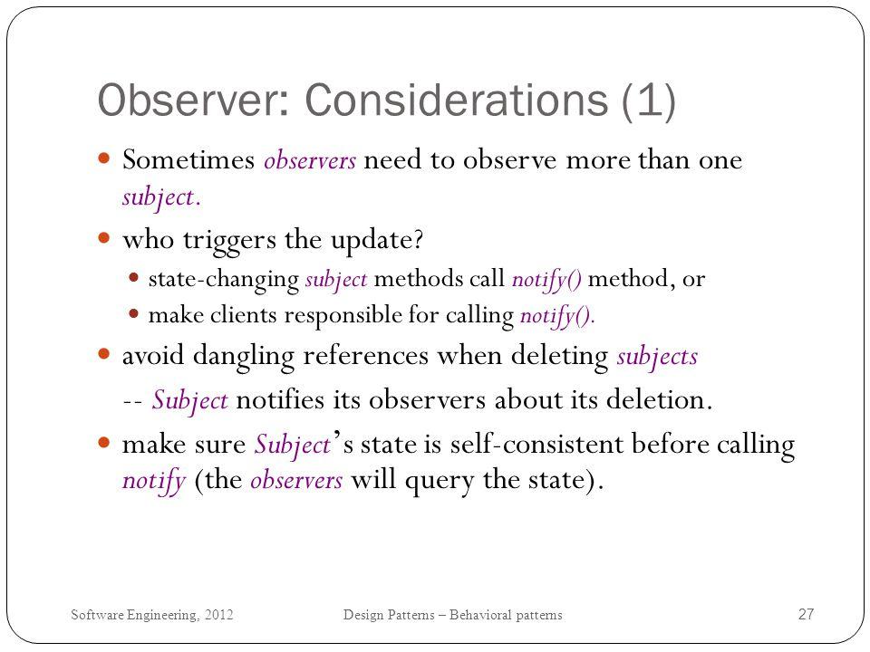 Observer: Considerations (1)