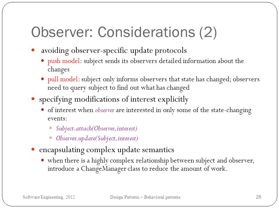 Observer: Considerations (2)