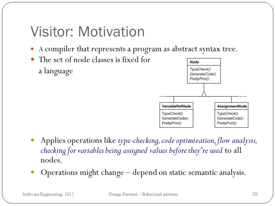 Visitor: Motivation The set of node classes is fixed for a language