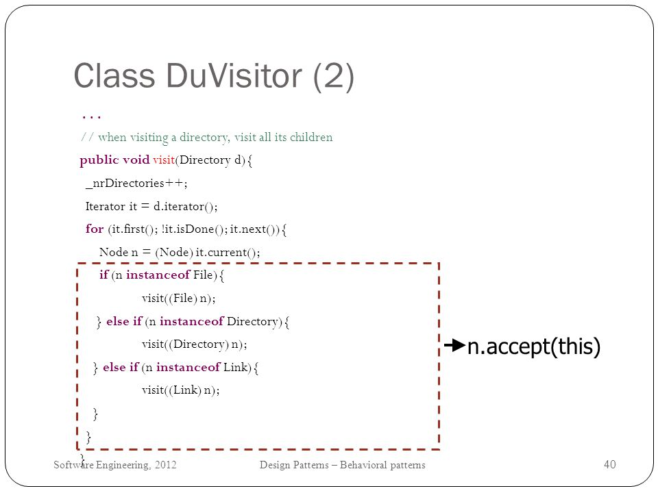 Class DuVisitor (2) n.accept(this) public void visit(Directory d){