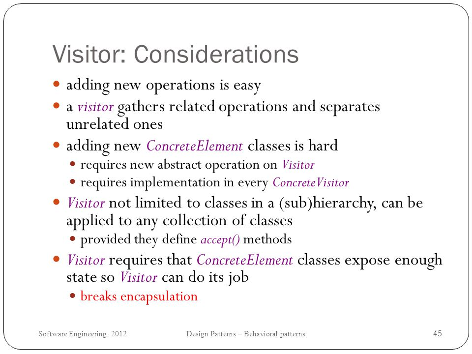 Visitor: Considerations
