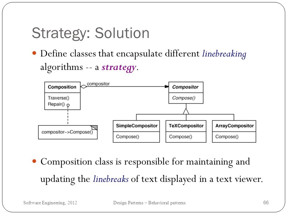 Strategy: Solution Define classes that encapsulate different linebreaking algorithms -- a strategy.