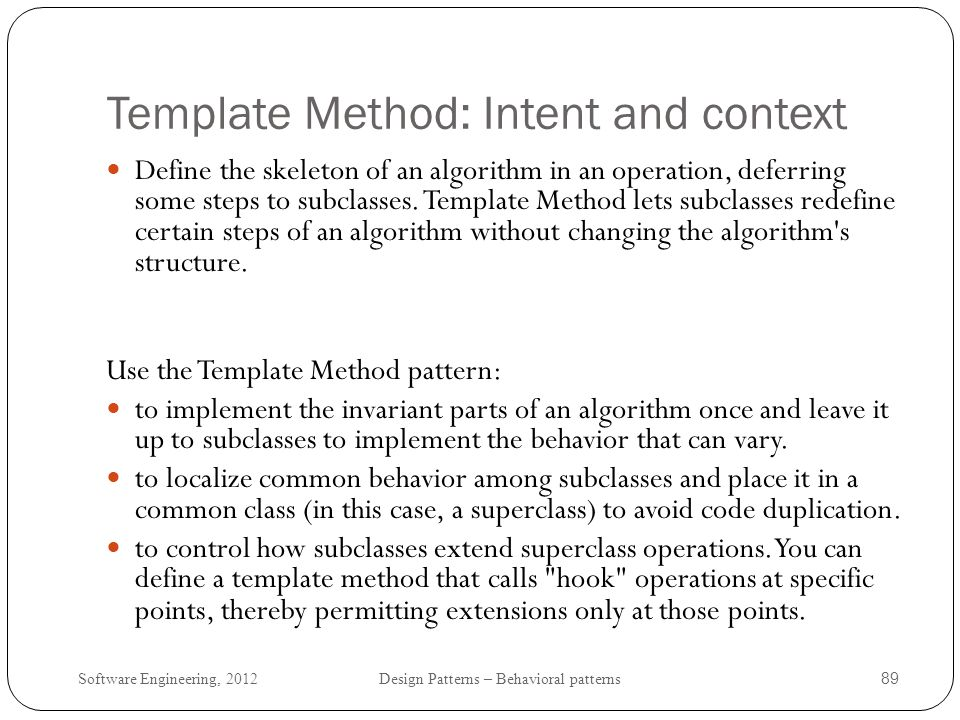 Template Method: Intent and context