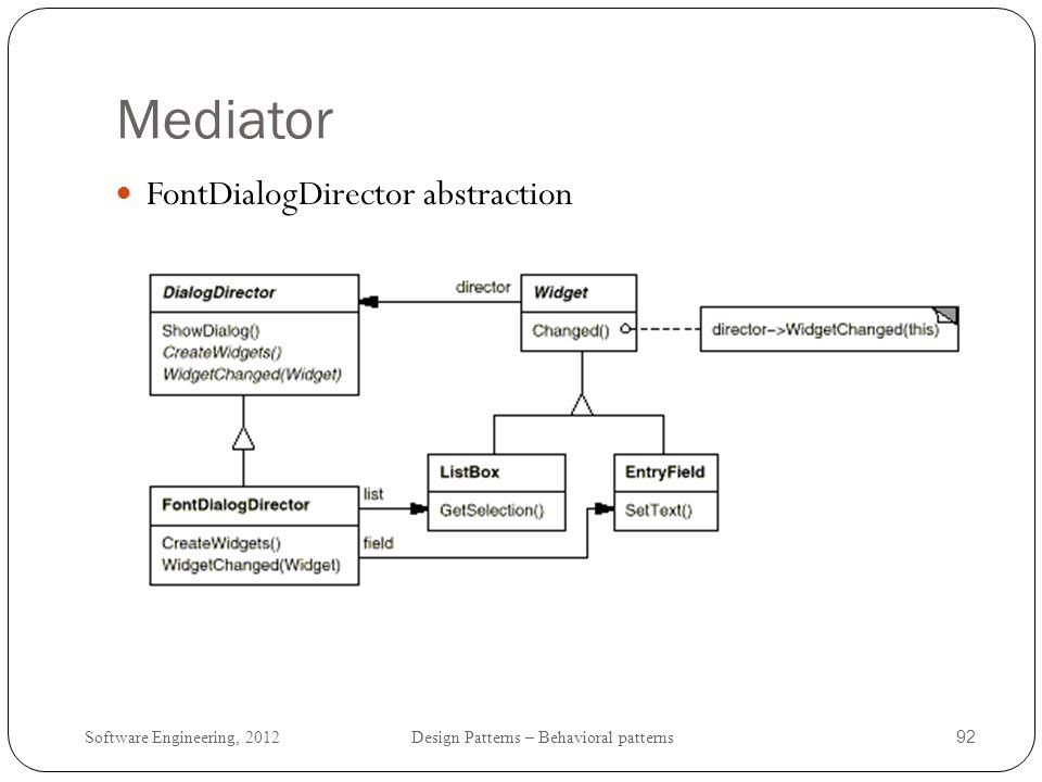 Mediator FontDialogDirector abstraction