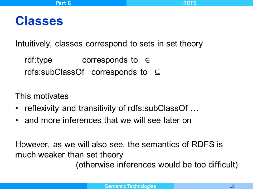 Classes Intuitively, classes correspond to sets in set theory