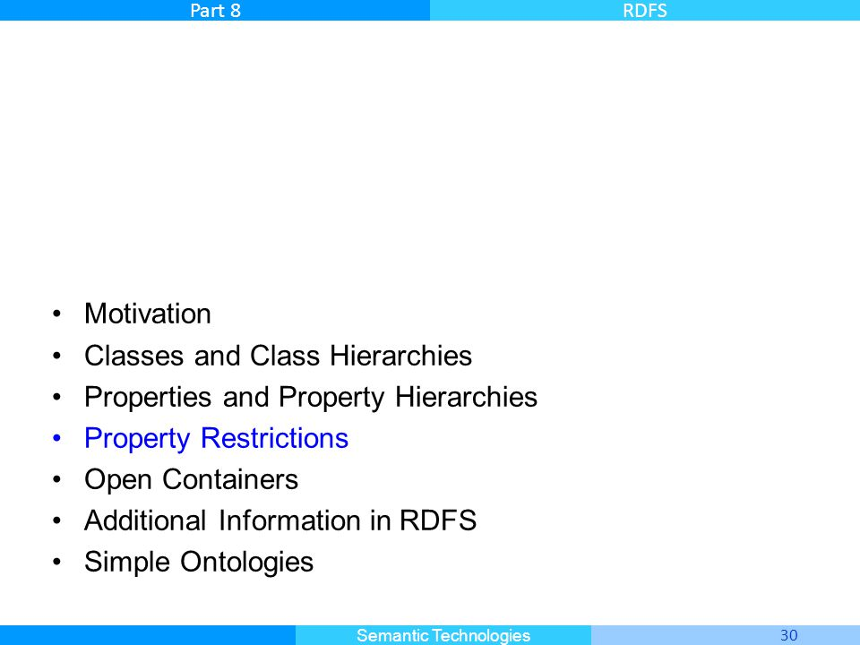 Motivation Classes and Class Hierarchies. Properties and Property Hierarchies. Property Restrictions.