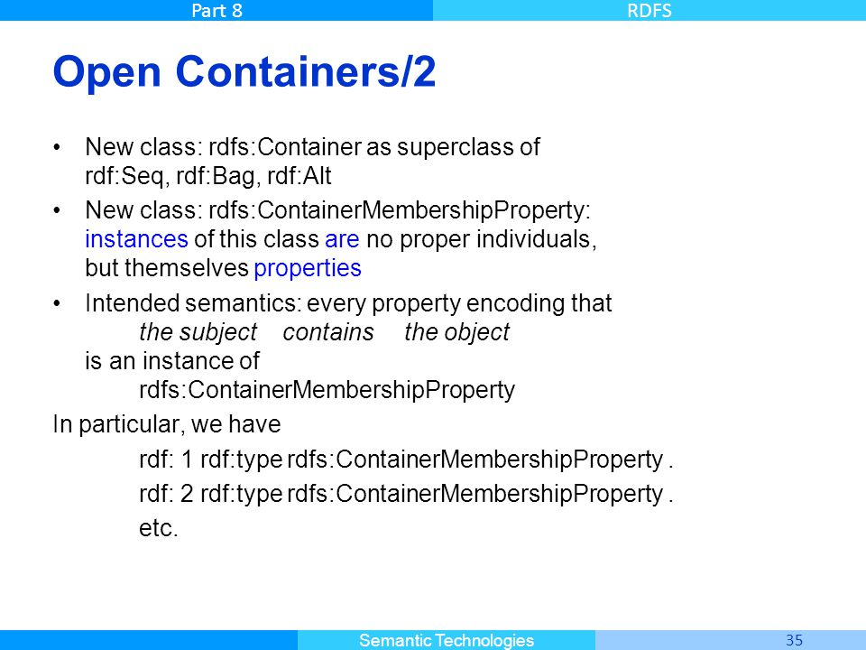 Open Containers/2 New class: rdfs:Container as superclass of rdf:Seq, rdf:Bag, rdf:Alt.