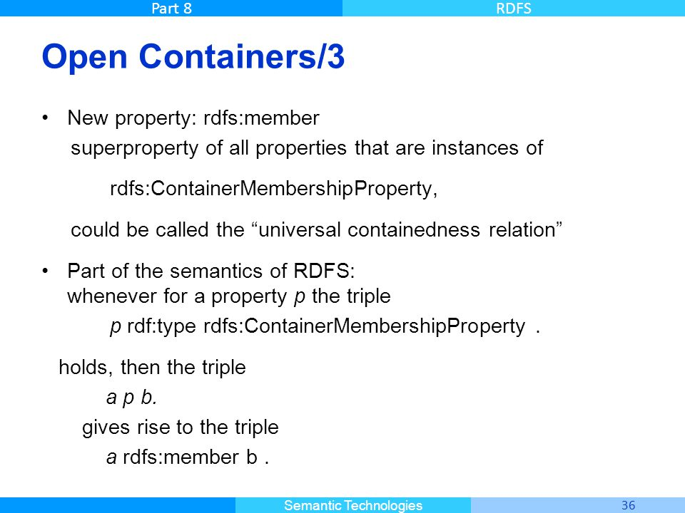 Open Containers/3 New property: rdfs:member
