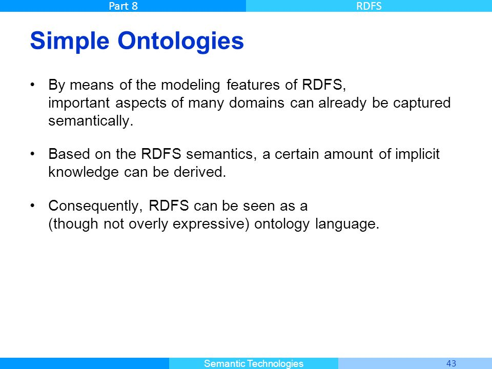 Simple Ontologies By means of the modeling features of RDFS, important aspects of many domains can already be captured semantically.