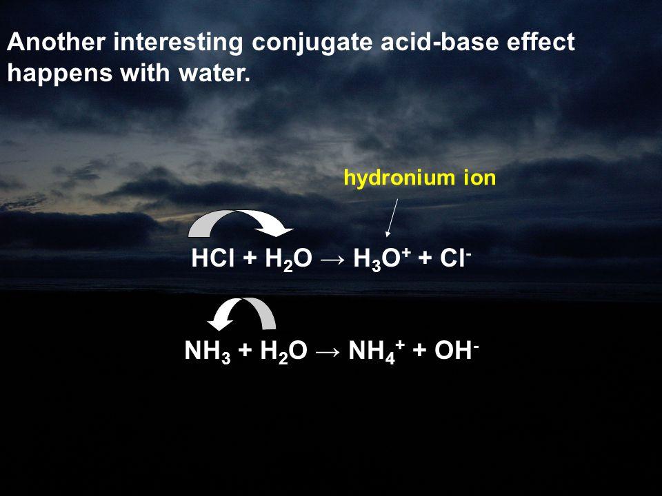 HCl + H2O → H3O+ + Cl- NH3 + H2O → NH4+ + OH-