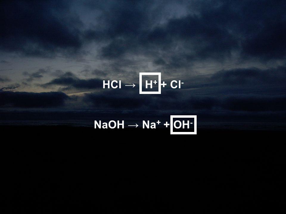 HCl → H+ + Cl- NaOH → Na+ + OH-