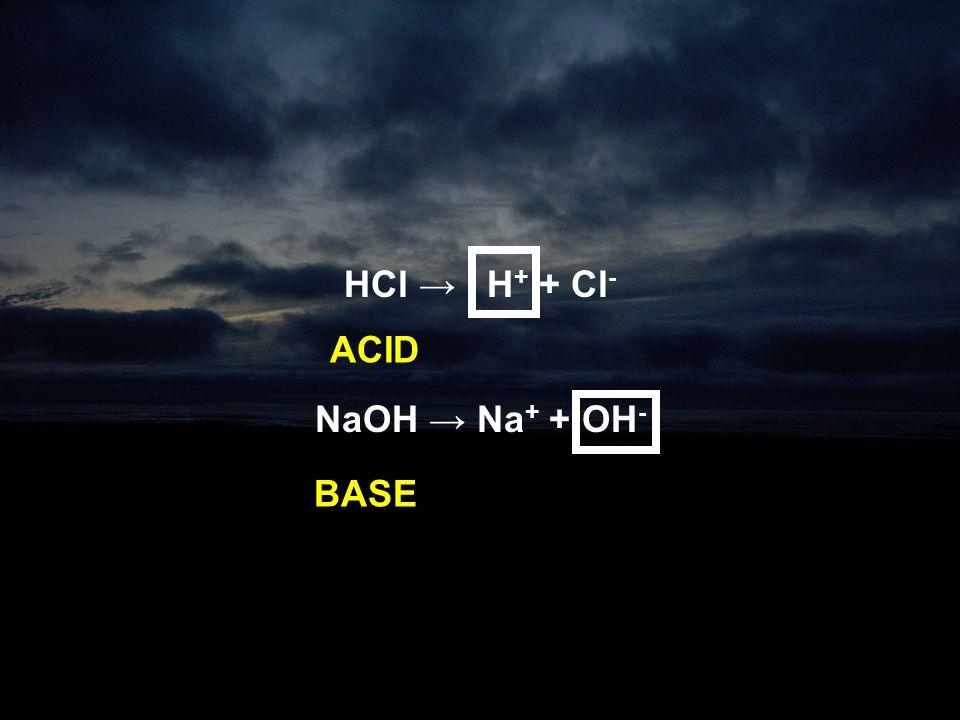HCl → H+ + Cl- NaOH → Na+ + OH- ACID BASE