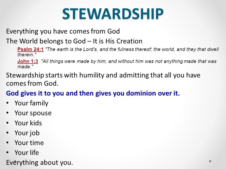 STEWARDSHIP Everything you have comes from God