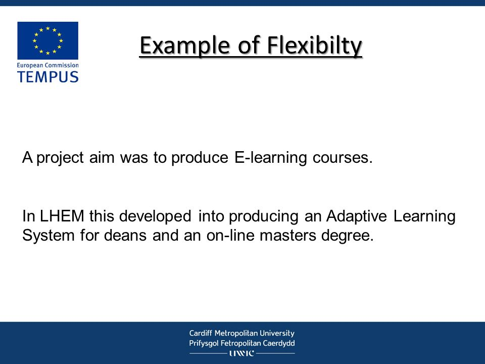 Example of Flexibilty A project aim was to produce E-learning courses.