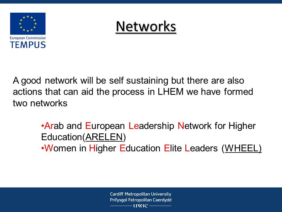 Networks A good network will be self sustaining but there are also actions that can aid the process in LHEM we have formed two networks.