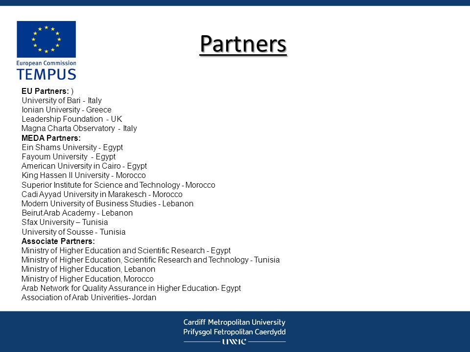 Partners EU Partners: ) University of Bari - Italy